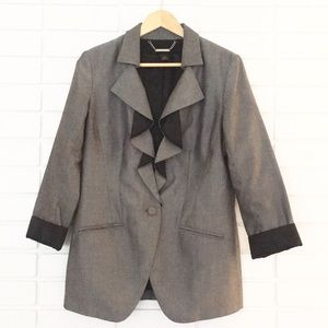 White House Black Market Grey Long-Sleeve Blazer